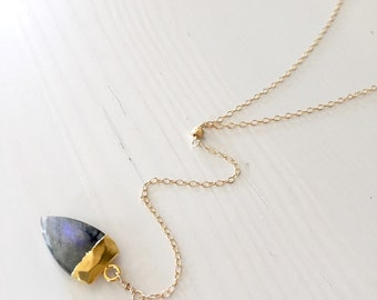 Labradorite Spike Y necklace / simple, minimal dainty lariat necklace   / Gold dipped labradorite spear pendant necklace
