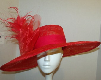 Red Hat WIth Crinoline and feathers, Perfect for the Kentucky Derby, Spring Luncheons,Weddings, and spring Teas.