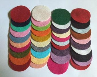 Wool Felt Circles 40 - 1 3/4 inch Random Colored. 2679