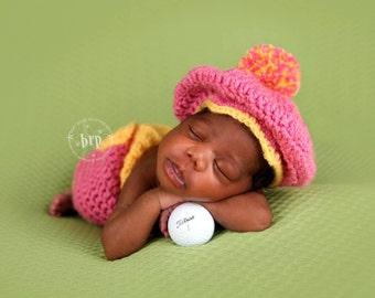 Newborn Golfer Costume/ Baby Golfer Set/ Newborn Photo Prop/ Baby Girl Photo Prop/ Pink and Yellow /Golfer Baby/