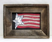 American Flag, Patriotic USA Flag, Folk Art American Flag, Framed in Reclaimed Barn Wood, Primitive American Flag, Red, White and Blue