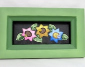 Folk Art Flowers, Reclaimed Wood Frame, Tole Painted on Black Screen, Spring Flowers, Mother's Day,Colorful Flowers, Buttons and Bugs