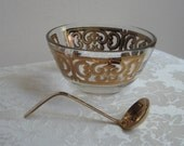 Vintage Georges Briard Small Glass Bowl Gold Ornate With 24K Gold Plated Ladle, Mid Century Fleur de Lis Scrolls FABULOUS