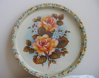 Vintage Floral Metal Tray by Elite Trays MTM England, Blue Pink Peach Flowers & Brown Leaves On Ivory, Shabby Cottage Decor