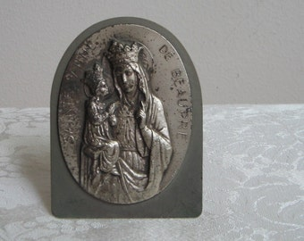 Vintage St. Anne Sainte Anne de Beaupre Religious Silver Tone Metal Repousse Art for Wall or Table, Mother of Mary, Grandmother of Jesus