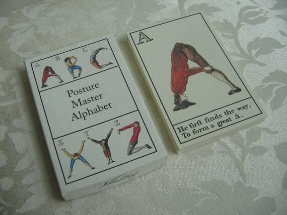 Vintage Posture Master Alphabet Deck Flash Cards By Colonial