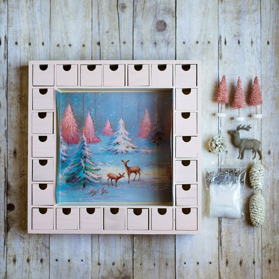 Advent Calendar Diy Kit : Diy wooden christmas advent calendar kit pink by knollwoodlane