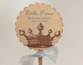 Prince Crown Cupcake Toppers / Food Picks Baby Shower Birthday Vintage Stamped Set of 10
