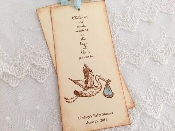 Italian Boy Name: Boy Stork Bookmarks Baby Shower Favors Set Of 10