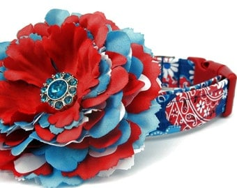 Red White and Blue Dog Collar with Flower Accessory