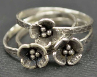 Sterling Flower Rings Stacking Rings Set of 3 Hamd Crafted Botanical