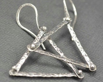 Sterling Triangle Earrings Hammered Riveted Pinned Rustic Oxidized Geometric Sterling Silver Hand Crafted 925