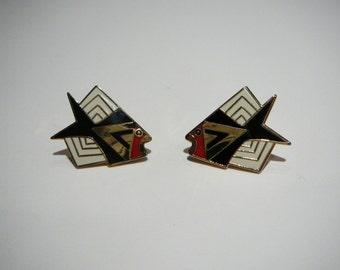 "Laurel Burch VINTAGE1990's ""SIAMESE FISH"" Cloisonne Post Earrings"