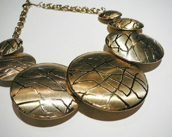 Vtg Massive Runway Large Necklace Earring set Round Mid Century
