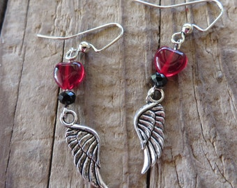 Red Glass Hearts with Silver Wings