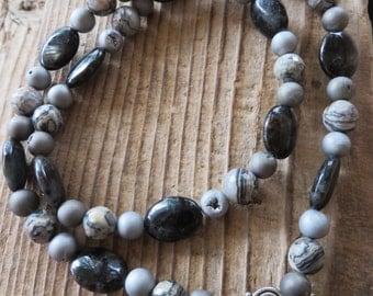 Black and Metallic Swirled Jasper and Druzy Beaded Necklace
