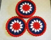 Coasters Set of 6 Crochet in Americana Theme