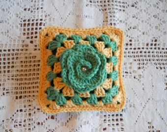 Pincushion or Sachet in Yellow and Green with Green Rose Flower Center