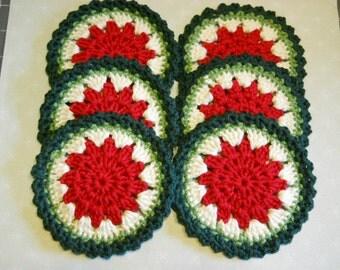 Coasters Set of 6 Crochet in Watermelon Theme