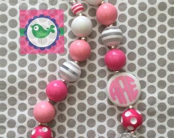 Monogrammed Chunky Bubblegum necklace personalized initials vine circle monogram trendy preppy kids princess