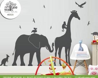 Large Giraffe Elephant Monkey wall decal jungle safari nursery theme,children room, Kids. Kangaroo, pelican, swallow,eagle decal - d533