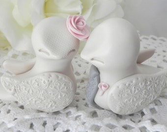 Love Birds Wedding Cake Topper, Ivory, Pink and Grey, Bride and Groom Keepsake, Fully Customizable