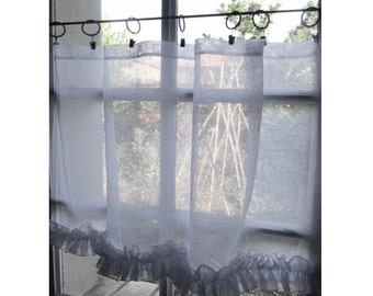 Custom White Sheer Linen Panel, Ruffle Kitchen Cafe Curtain, Shabby Chic, European Style