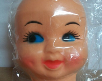 "Large Vintage ""Dimple Face"" Plastic Doll Face Mask"