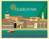Dubrovnik Skyline Art Print, Croatia Retro Travel Wall Art Poster, Dubrovnik Map,  horizontal Croatian Print, Loose Petals, style E8-O-DUBR