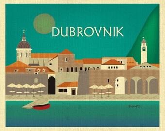 Dubrovnik Skyline Art Print, Dubrovnik Poster, Croatia art print, Dubrovnik Map,  horizontal Croatian Print, Loose Petals, style E8-O-DUBR