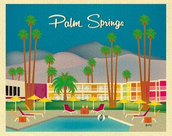 Palm Springs Art Print, Skyline, Palm Srings Retro Wall Decor, Palm Springs Nursery, Loose Petals City Print Horizontal Art - style E8-O-PAL