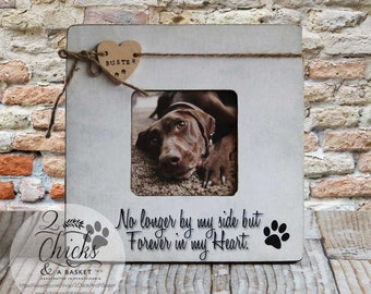 Personalized Pet Picture Frame, Pet Name Frame, Pet Lover Gift Idea, No Longer By My Side But Forever In My Heart