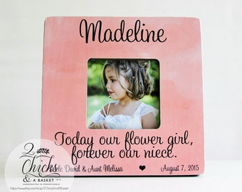 Today Our Flower Girl Forever Our Niece Picture Frame, Personalized Flower Girl Picture Frame, Personalized Wedding Gift