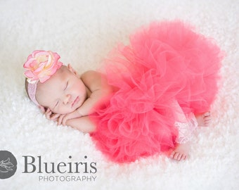 Coral Baby Tutu, Coral Tutu, Newborn Tutu Set, Infant Tutu, 1st Birthday Tutu, Tutus, Baby Girls Tutu, Coral Tutu Skirt, Baby Photo Prop