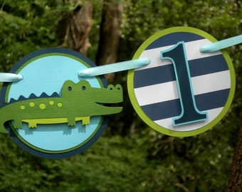 I am 1 Alligator Birthday Banner in Navy Blue and Green