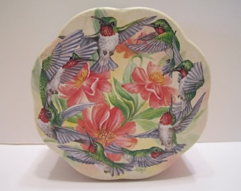 Vintage Tin of Hummingbirds and Flowers - Century Resources Inc - Scalloped Edges - Signed by Tina