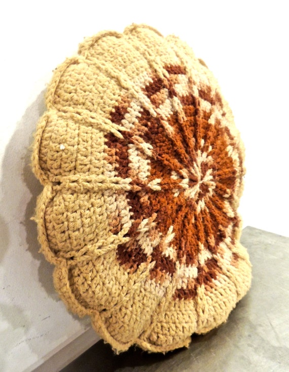 Round Brown Throw Pillow : vintage crochet throw pillow 1960s tan/brown round mid by mkmack