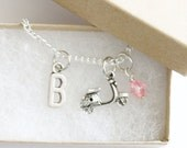 Vespa Scooter Necklace Silver, Personalized Initial Necklace, Birthstone Acrylic Color, Paris Necklace, Europe Necklace, Gift for Girl