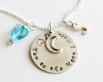 I love you to the moon and back Necklace, Hand Stamped Gift, Gift for Mother, Gift for Girlfriend, Birthday Gift, Anniversary Gift