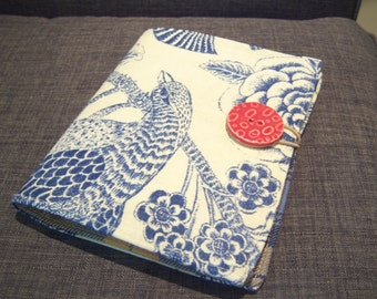 Mini Notepad Storage Coupon Keeper To Do List Portfolio Decorators Fabric Blue Bird Print Plaid Interior