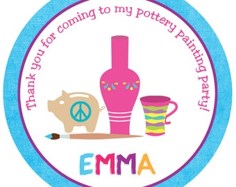 Pottery Painting Party Sticker -- personalized birthday sticker --  favor tag, address label, custom sticker, personalized stickers