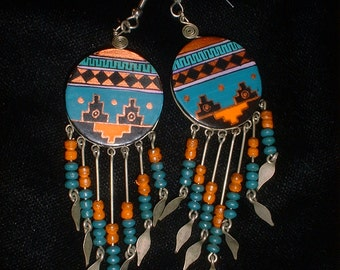 Vintage Hand Painted Native Dangle Earrings Native Geometric Designs