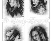 ACEO Print Pack Native American Indian Wolf Art Zindy Nielsen