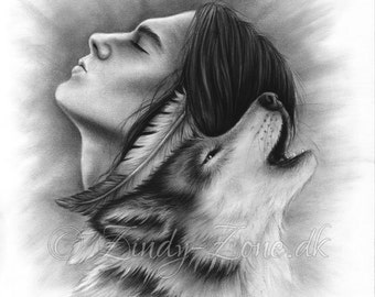 Connected Souls Wolf Native Indian Male Man Emo Art Print Glossy Zindy Nielsen