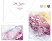 Watercolor wedding invitation suite in gold, burgundy and powder blue; SAMPLE ONLY