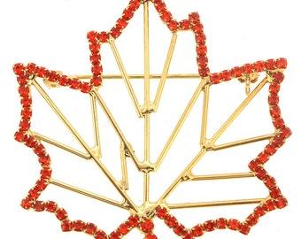 Orange Maple Leaf Pin Brooch 1004531