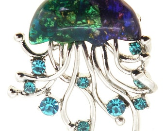 Blue Jellyfish Brooch Pin 1004702