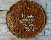 Vintage Home Plaque Syroco Wood Sweet