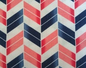 SALE Chevron Fabric Navy Blue and Red Chevron Cotton Fabric Sale - 1 Yard