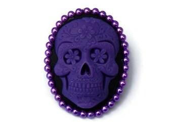 Sugar Skull Brooch Purple and Black, Rockabilly Cameo Pin, Pin up, Vintage Inspired, Day of the Dead, Dia de los Muertos